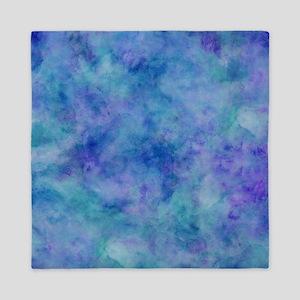 Ocean Aqua Blue Watercolor Queen Duvet