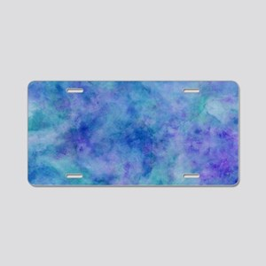 Ocean Aqua Blue Watercolor Aluminum License Plate