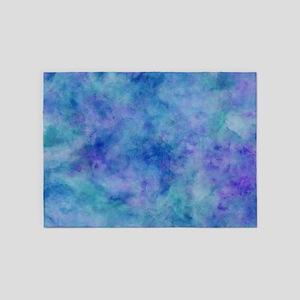 Ocean Aqua Blue Watercolor 5'x7'Area Rug