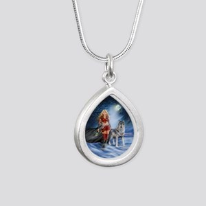 Warrior Woman and Wolf Silver Teardrop Necklace