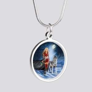 Warrior Woman and Wolf Silver Round Necklace