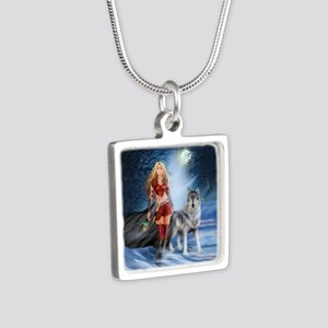 Warrior Woman and Wolf Silver Square Necklace