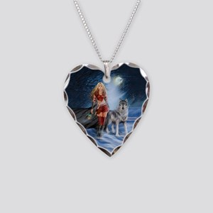 Warrior Woman and Wolf Necklace Heart Charm