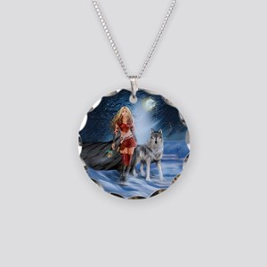 Warrior Woman and Wolf Necklace Circle Charm