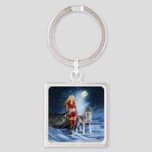 Warrior Woman and Wolf Square Keychain