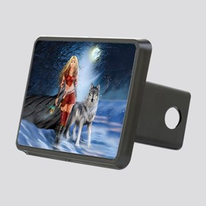 Warrior Woman and Wolf Rectangular Hitch Cover