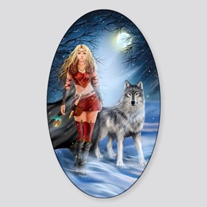 Warrior Woman and Wolf Sticker (Oval)