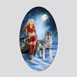 Warrior Woman and Wolf 20x12 Oval Wall Decal