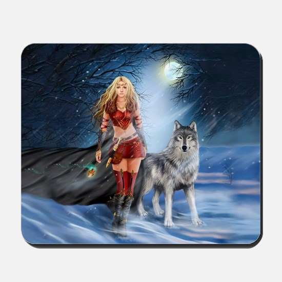 Warrior Woman and Wolf Mousepad