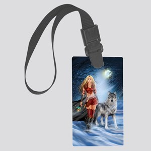Warrior Woman and Wolf Large Luggage Tag