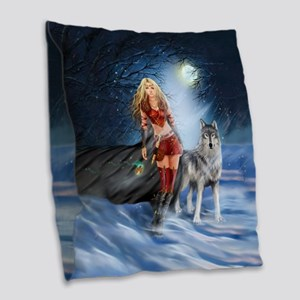 Warrior Woman and Wolf Burlap Throw Pillow