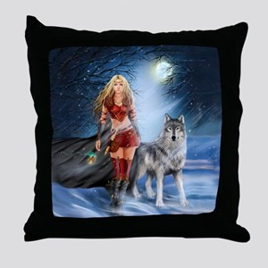 Warrior Woman and Wolf Throw Pillow