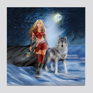 Warrior Woman and Wolf Tile Coaster
