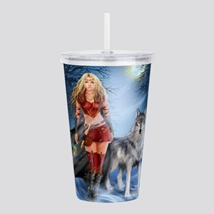 Warrior Woman and Wolf Acrylic Double-wall Tumbler