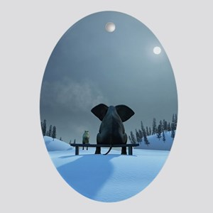 Dog and Elephant Friends Oval Ornament