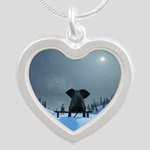 Dog and Elephant Friends Silver Heart Necklace