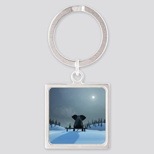 Dog and Elephant Friends Square Keychain