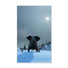 Dog and Elephant Friends Wall Decal
