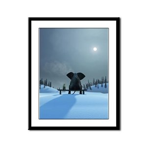 Dog and Elephant Friends Framed Panel Print