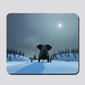 Dog and Elephant Friends Mousepad
