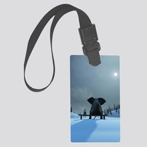 Dog and Elephant Friends Large Luggage Tag