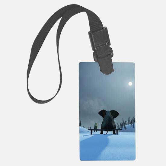 Dog and Elephant Friends Luggage Tag