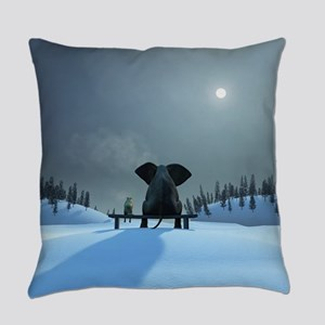 Dog and Elephant Friends Everyday Pillow