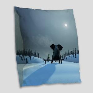Dog and Elephant Friends Burlap Throw Pillow