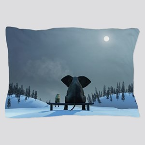 Dog and Elephant Friends Pillow Case