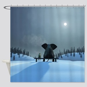 Dog and Elephant Friends Shower Curtain