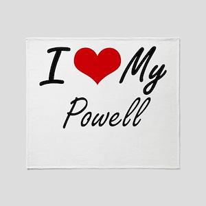 I Love My Powell Throw Blanket