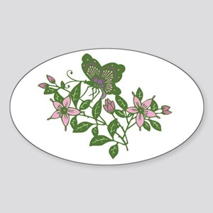 Butterfly and Flowers Oval Sticker