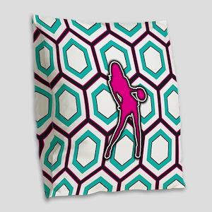Girls Basketball Player Design Burlap Throw Pillow