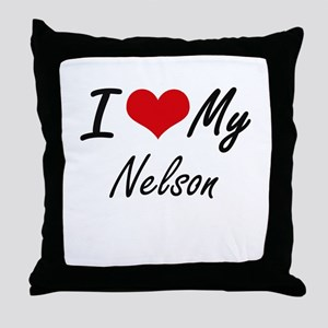 I Love My Nelson Throw Pillow