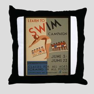 Vintage poster - Learn to swim Throw Pillow