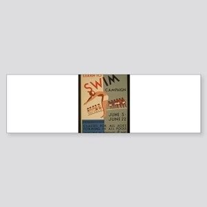 Vintage poster - Learn to swim Bumper Sticker