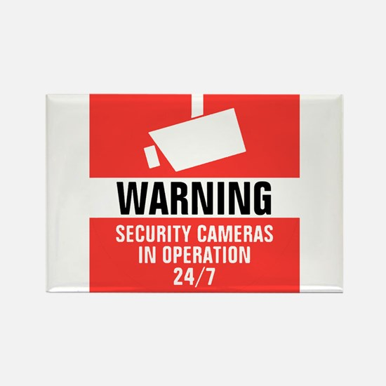 Security Camera Round Warning Sticker Magnets