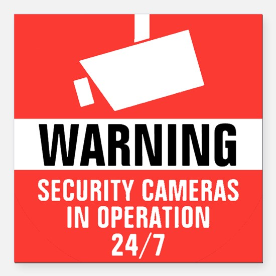 "Security Camera Round Wa Square Car Magnet 3"" x 3"""