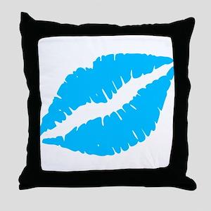Blue Kiss Lips Throw Pillow