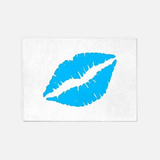 Blue Kiss Lips 5'x7'Area Rug