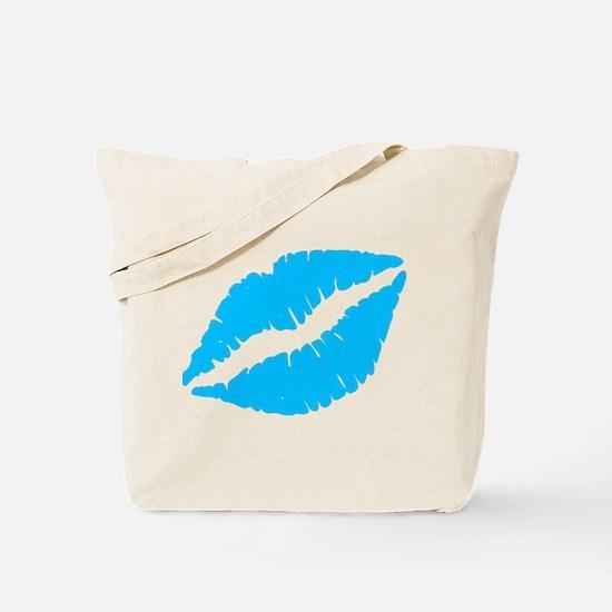 Blue Kiss Lips Tote Bag