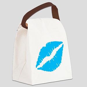 Blue Kiss Lips Canvas Lunch Bag