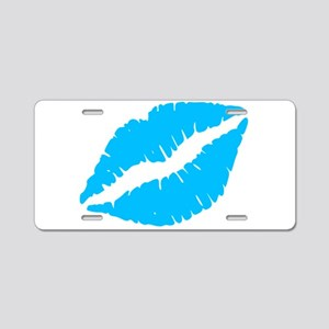 Blue Kiss Lips Aluminum License Plate