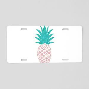 Watercolor Blush Pink Pinea Aluminum License Plate