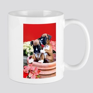 Christmas Boxer puppies Mugs
