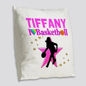 BASKETBALL STAR Burlap Throw Pillow