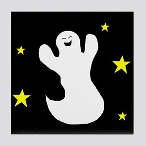 GHOST AT NIGHT Tile Coaster