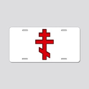Russian Cross Aluminum License Plate