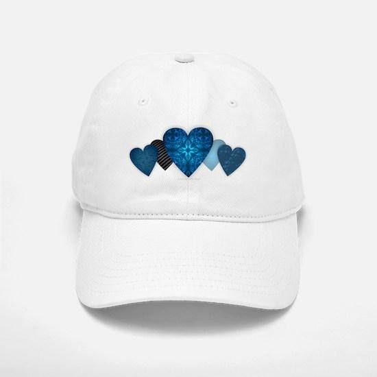 Blue Hearts Baseball Baseball Cap