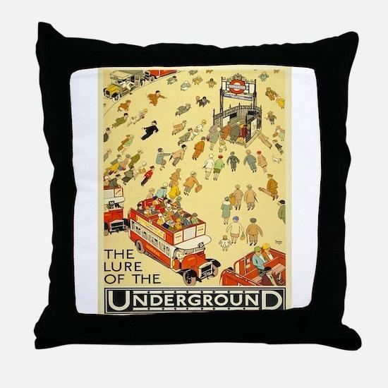 Vintage poster - London Underground Throw Pillow